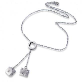 """Ocelový náhrdelník z chirurgické oceli """"Hravé kostky"""""""